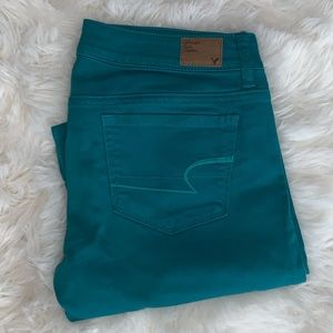 American Eagle Turquoise Jeans Size 6